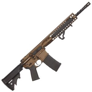 LWRC DI AR-15 Semi Auto Rifle 5.56 NATO 16″ Barrel 30 Rounds Modular Free Float Rail LWRC Compact Stock Cerakote Burnt Bronze Finish