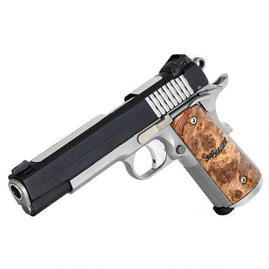 SIG Sauer 1911 STX Semi Automatic Pistol .45 ACP 5″ Barrel 8 Round Capacity Maple Wood Grips Nitron Finish 1911-45-STX