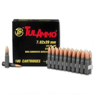 TulAmmo 7.62x39mm Ammunition, 100 Rounds, Steel Case HP, 122 Grains