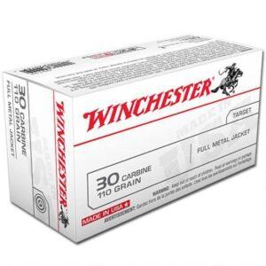 Ammo .30 Carbine Winchester 110 Grain FMJ 1990 fps 50 Round Box Q3132
