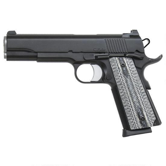 Dan Wesson 1911 Valor Government Semi Auto Pistol 10mm Auto 5″ Barrel 8 Rounds Fixed Night Sights G-10 Grips Stainless Steel Frame Black Duty Finish