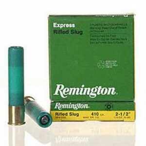 Ammo .410 Bore Remington Rifled Slug 2-1/2″ 1/5 Ounce 5 Round Box 1830 fps 02120