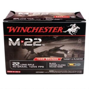 Ammo .22 Long Rifle Winchester M-22 40 Grain Black Plated Lead Round Nose 1255 fps 1000 Rounds S22LRT