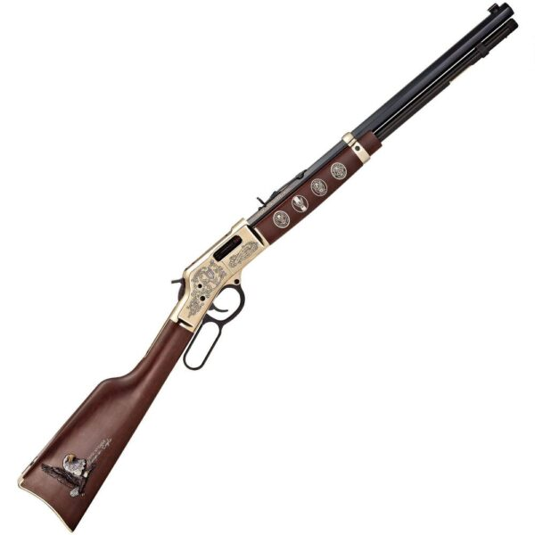 Henry Big Boy Eagle Scout Lever Action Rifle .44Mag/.44 Special 20″ Octagonal Barrel 10 Rounds Centennial Celebration Edition American Walnut Stock Polished Brass with Engravings Adjustable Rear Sight H006ES