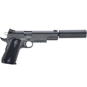 ATI/GSG 1911 AD OPS Semi Auto Handgun .22 LR 5″ Barrel 10 Rounds Fixed Sights Plastic Grips Picatinny Rail Fake Suppressor Black Finish GERG1911ADOP