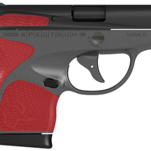 Taurus Spectrum 380 ACP Carry Conceal Pistol with Gray Frame and Torch Red Grips