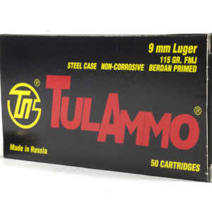 Tula Ammo 9mm Luger 115 gr FMJ Steel Case 50/Box