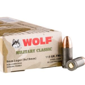 Wolf 9mm Ammunition Military Classic 115 Grain Full Metal Jacket CASE 500 rounds