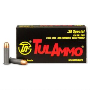 TulAmmo .38 Special Ammunition 50 Rounds 130 Grain Full Metal Jacket Steel Cased 890fps