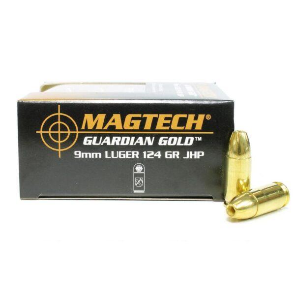Ammo 9mm Magtech Guardian Gold JHP 124 Grain 20 Round Box 1096 fps GG9B