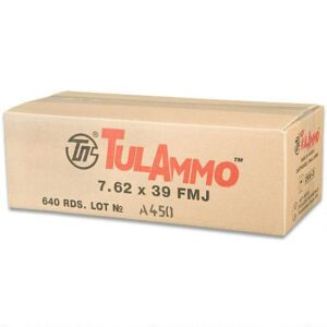 TulAmmo 7.62x39mm Ammunition 640 Rounds Steel Case FMJ 122 Grains UL076203