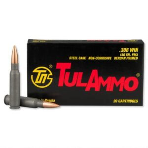 TulAmmo .308 Winchester Ammunition 20 Rounds Steel FMJ 150 Grains TA308150